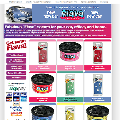 Flava Car Scents website
