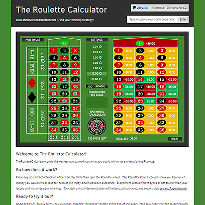 The Roulette Calculator website