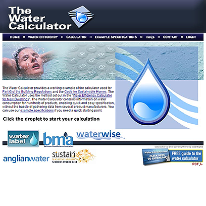 The Water Calculator website